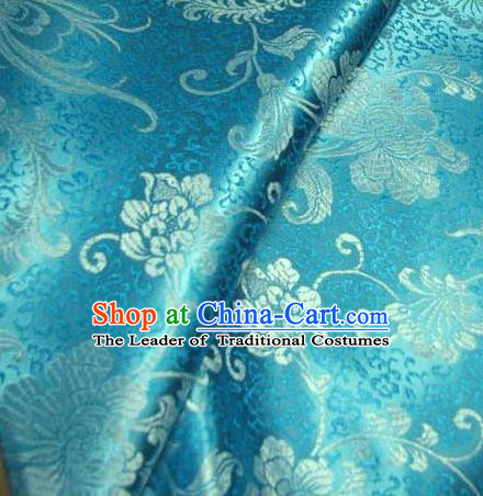 Chinese Traditional Palace Rich Flowers Pattern Design Hanfu Blue Brocade Fabric Ancient Costume Tang Suit Cheongsam Material