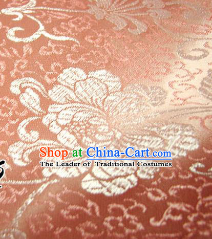 Chinese Traditional Palace Rich Flowers Pattern Design Hanfu Pink Brocade Fabric Ancient Costume Tang Suit Cheongsam Material