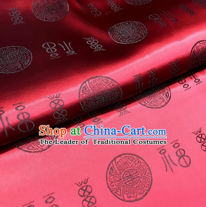 Chinese Traditional Palace Fu Character Pattern Design Hanfu Purplish Red Brocade Fabric Ancient Costume Tang Suit Cheongsam Material