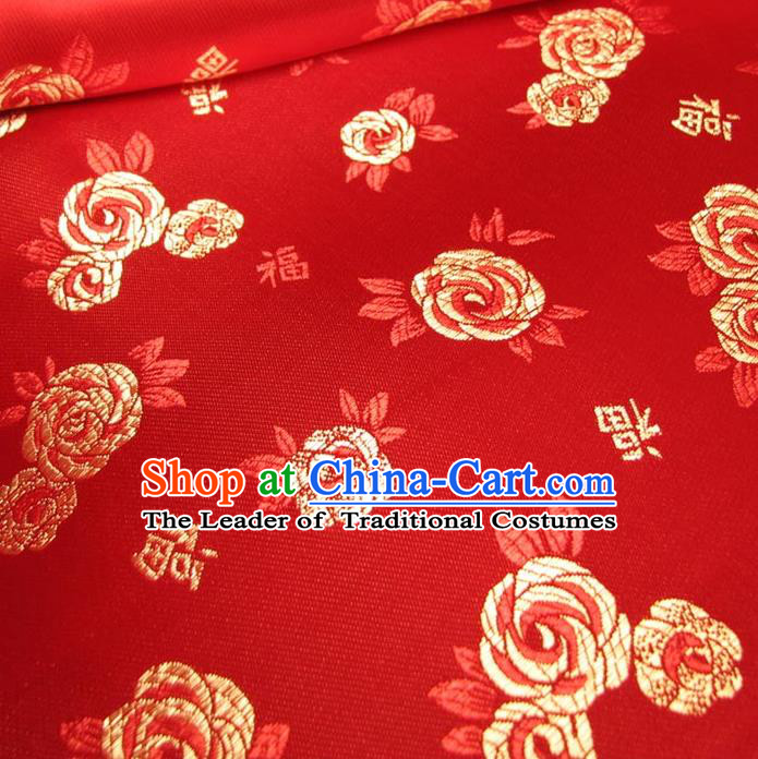 Chinese Traditional Palace Fu Character Pattern Design Hanfu Red Brocade Fabric Ancient Costume Tang Suit Cheongsam Material
