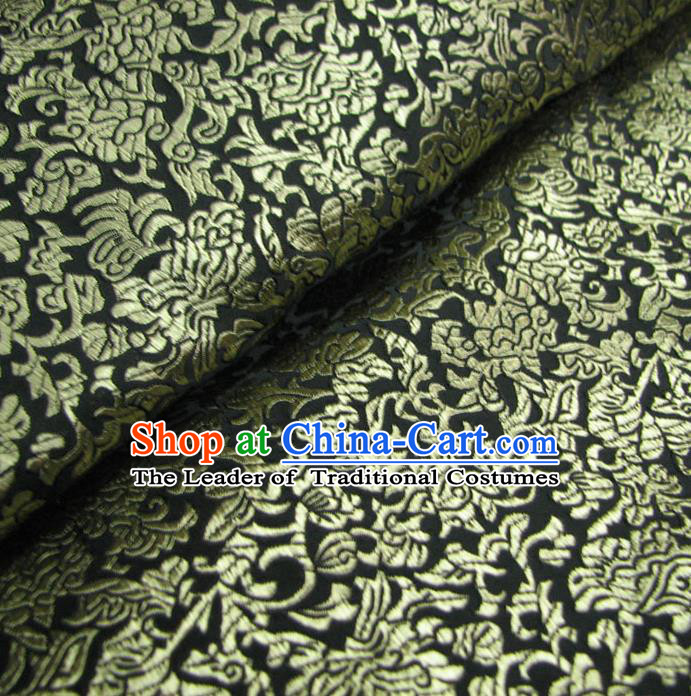 Chinese Traditional Palace Fu Character Pattern Design Hanfu Black Brocade Fabric Ancient Costume Tang Suit Cheongsam Material