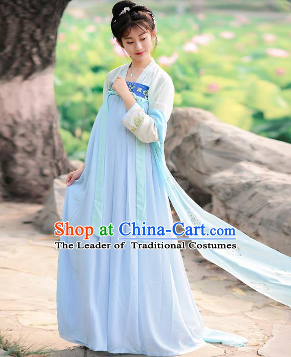 Traditional Chinese Tang Dynasty Imperial Concubine Palace Lady Hanfu Embroidered Costume for Women