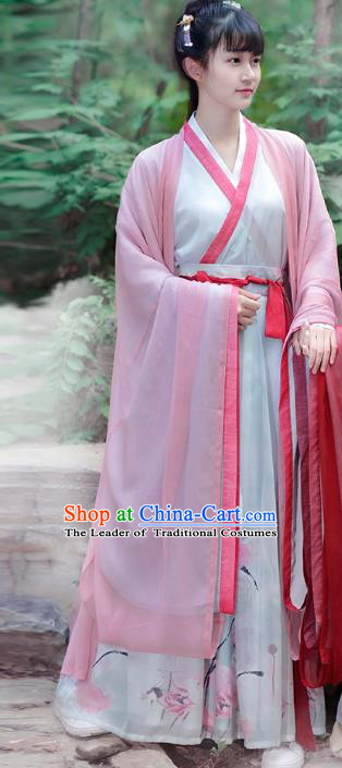 Traditional Chinese Jin Dynasty Palace Lady Elegant Hanfu Costume Wide Sleeve Cloak for Women