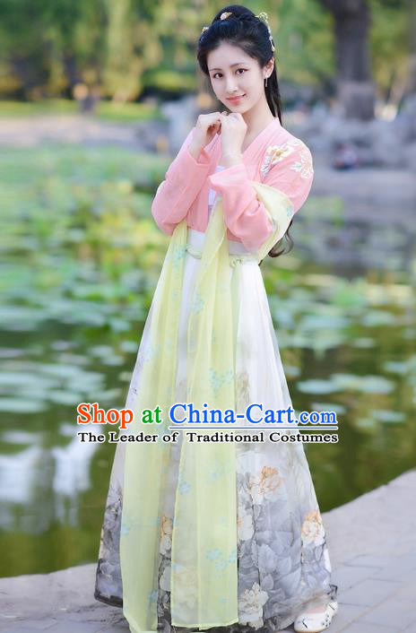 Traditional Chinese Tang Dynasty Princess Palace Lady Elegant Hanfu Costume for Women