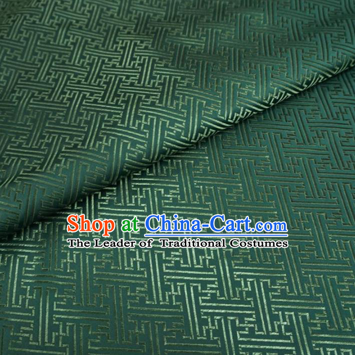 Chinese Traditional Palace Pattern Hanfu Deep Green Brocade Fabric Ancient Costume Tang Suit Cheongsam Material