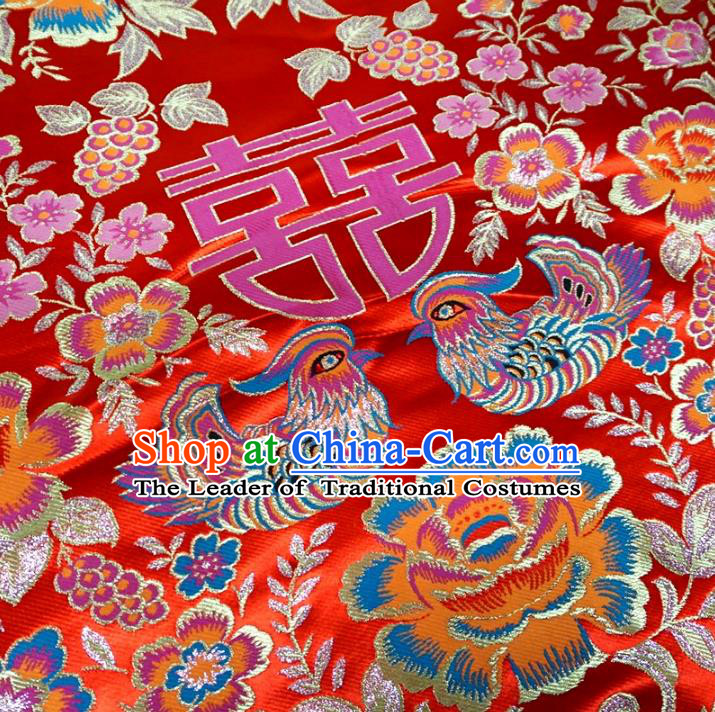 Chinese Traditional Palace Mandarin Duck Pattern Hanfu Red Brocade Fabric Ancient Costume Tang Suit Cheongsam Material