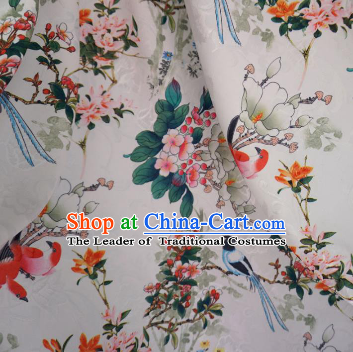 Chinese Traditional Palace Printing Plum Blossom Pattern Hanfu White Brocade Fabric Ancient Costume Tang Suit Cheongsam Material