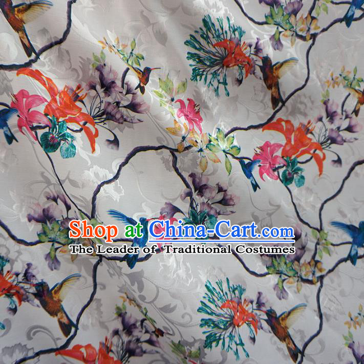 Chinese Traditional Palace Printing Flowers Pattern Hanfu White Brocade Fabric Ancient Costume Tang Suit Cheongsam Material