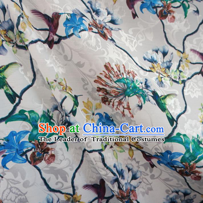 Chinese Traditional Palace Printing Bird Flowers Pattern Hanfu White Brocade Fabric Ancient Costume Tang Suit Cheongsam Material
