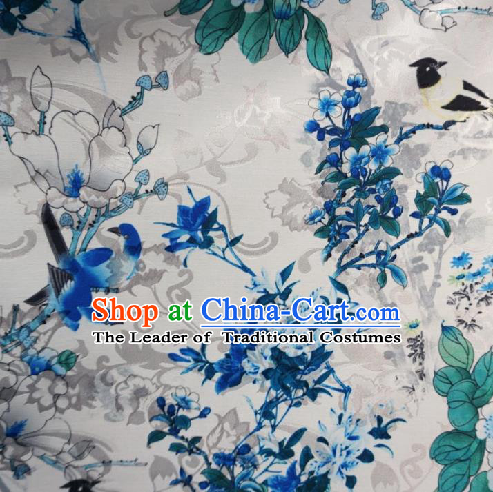 Chinese Traditional Palace Printing Flowers Birds Pattern Hanfu White Brocade Fabric Ancient Costume Tang Suit Cheongsam Material