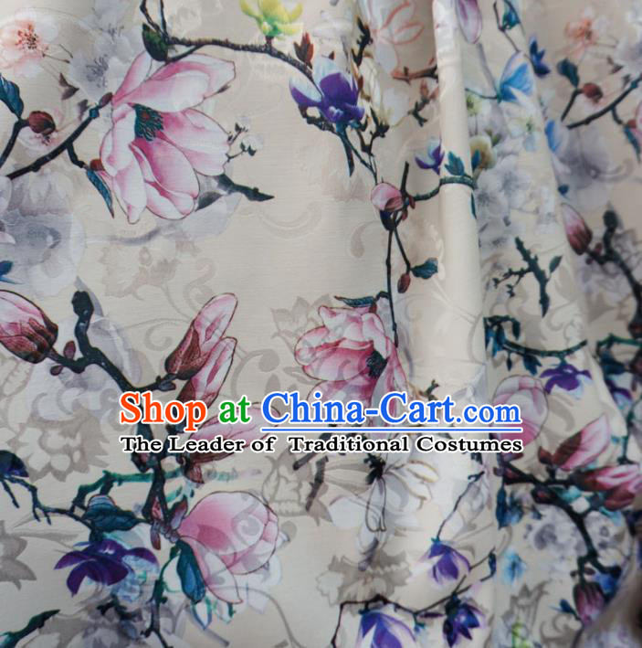 Chinese Traditional Palace Printing Magnolia Flowers Pattern Hanfu White Brocade Fabric Ancient Costume Tang Suit Cheongsam Material
