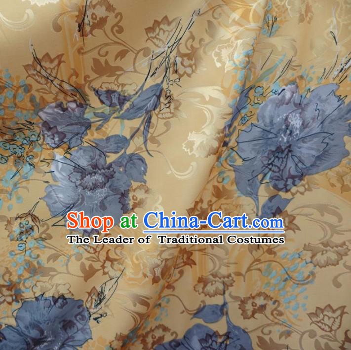 Chinese Traditional Palace Printing Flowers Pattern Hanfu Yellow Brocade Fabric Ancient Costume Tang Suit Cheongsam Material