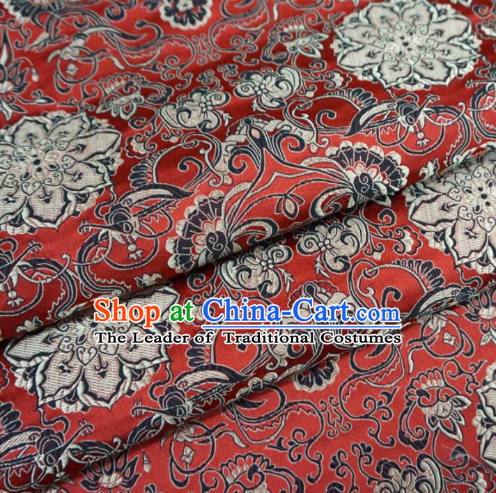 Chinese Traditional Palace Lotus Pattern Hanfu Red Brocade Fabric Ancient Costume Tang Suit Cheongsam Material
