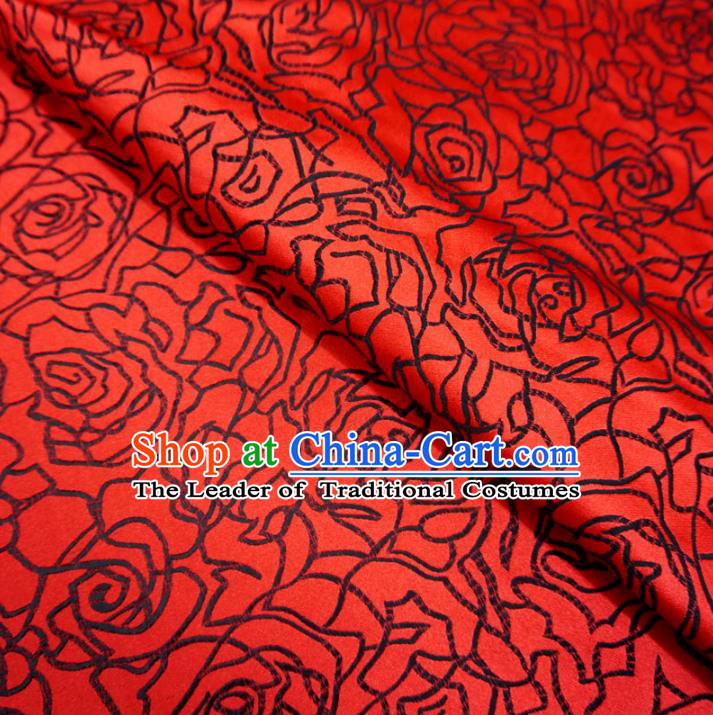Chinese Traditional Palace Rose Pattern Hanfu Red Brocade Fabric Ancient Costume Tang Suit Cheongsam Material