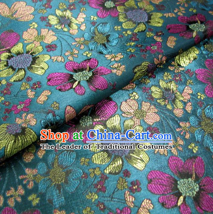 Chinese Traditional Palace Flowers Pattern Hanfu Blue Brocade Fabric Ancient Costume Tang Suit Cheongsam Material