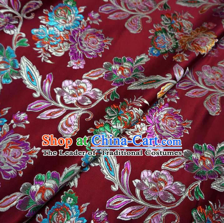 Chinese Traditional Palace Pattern Hanfu Purplish Red Brocade Fabric Ancient Costume Tang Suit Cheongsam Material