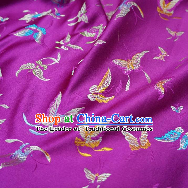Chinese Traditional Palace Butterfly Pattern Hanfu Rosy Brocade Fabric Ancient Costume Tang Suit Cheongsam Material