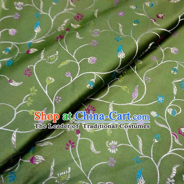 Chinese Traditional Palace Flowers Pattern Hanfu Green Brocade Fabric Ancient Costume Tang Suit Cheongsam Material