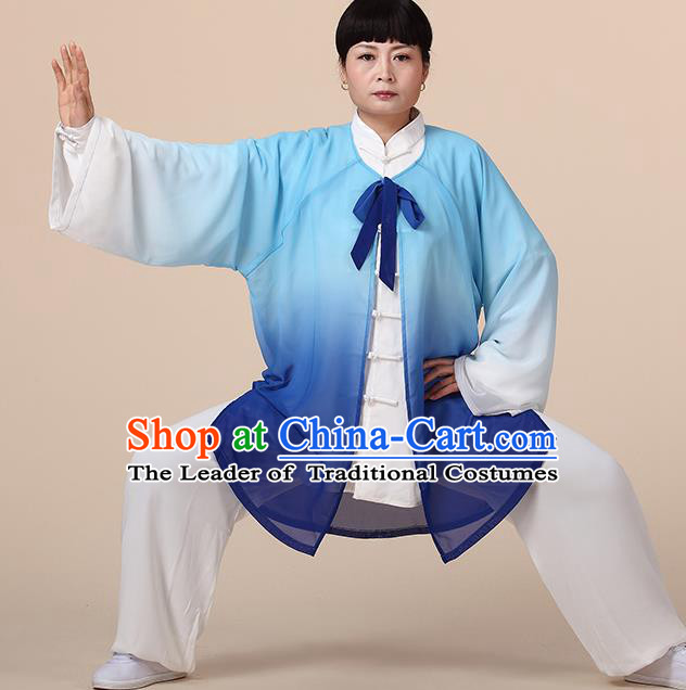 Traditional Chinese Kung Fu Costume Blue Chiffon Cloak, China Martial Arts Tai Ji Mantillas Clothing for Women