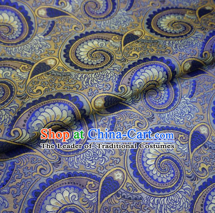 Chinese Traditional Palace Conch Pattern Hanfu Blue Brocade Fabric Ancient Costume Tang Suit Cheongsam Material