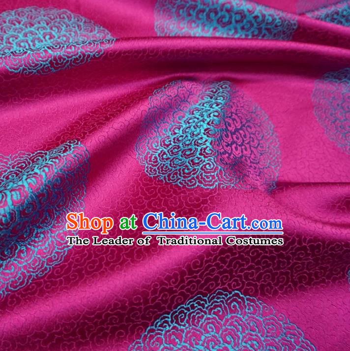 Chinese Traditional Palace Pattern Hanfu Rosy Brocade Fabric Ancient Costume Tang Suit Cheongsam Material