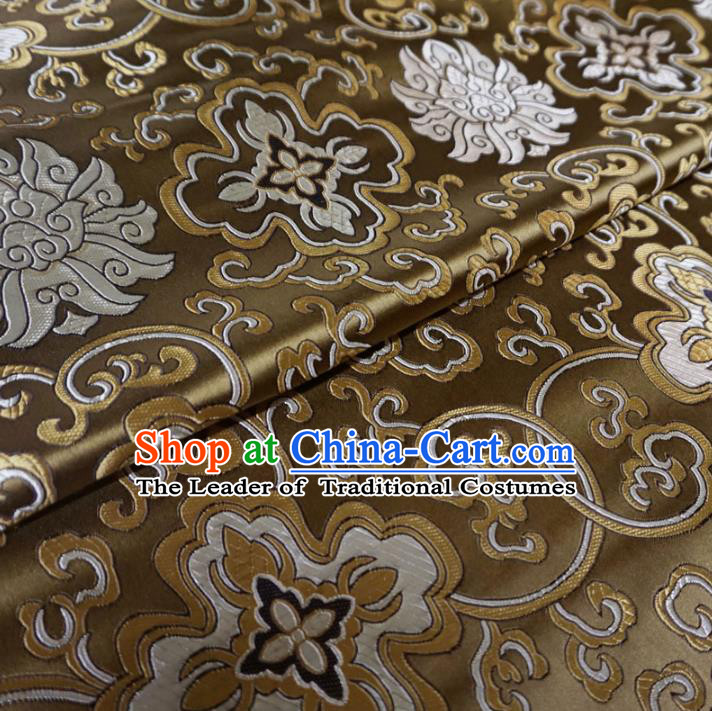 Chinese Traditional Palace Pattern Hanfu Brown Brocade Fabric Ancient Costume Tang Suit Cheongsam Material