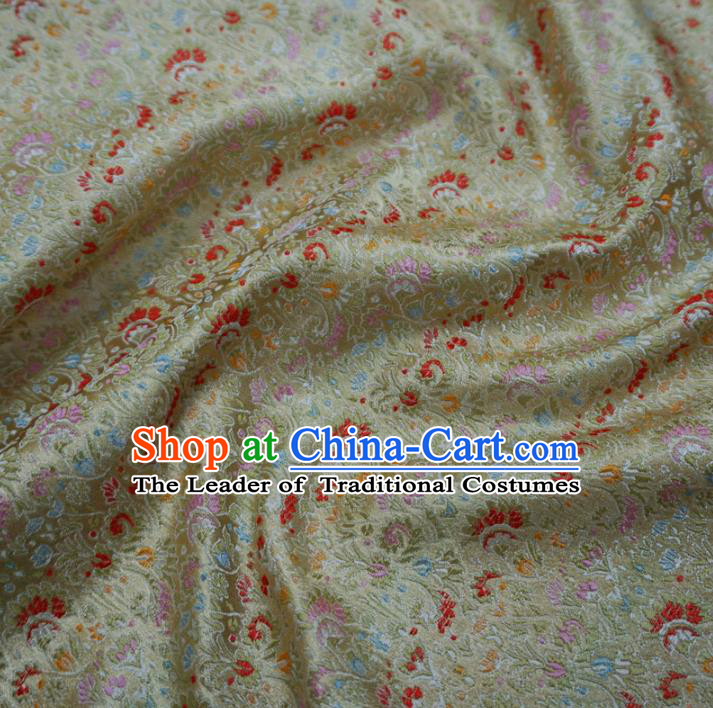 Chinese Traditional Palace Pattern Hanfu Light Golden Brocade Fabric Ancient Costume Tang Suit Cheongsam Material