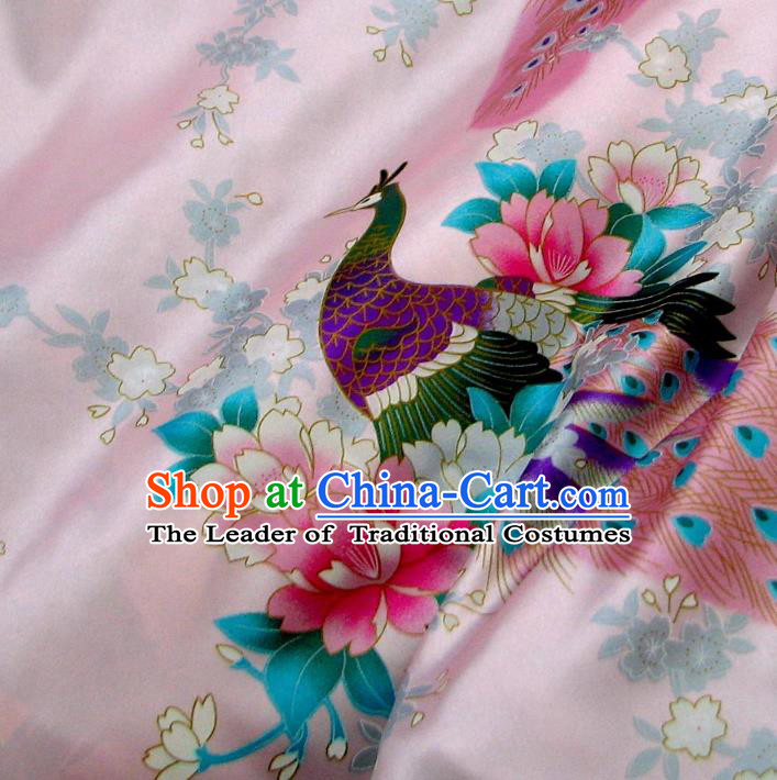 Chinese Traditional Palace Printing Peacock Pattern Hanfu Pink Brocade Fabric Ancient Costume Tang Suit Cheongsam Material