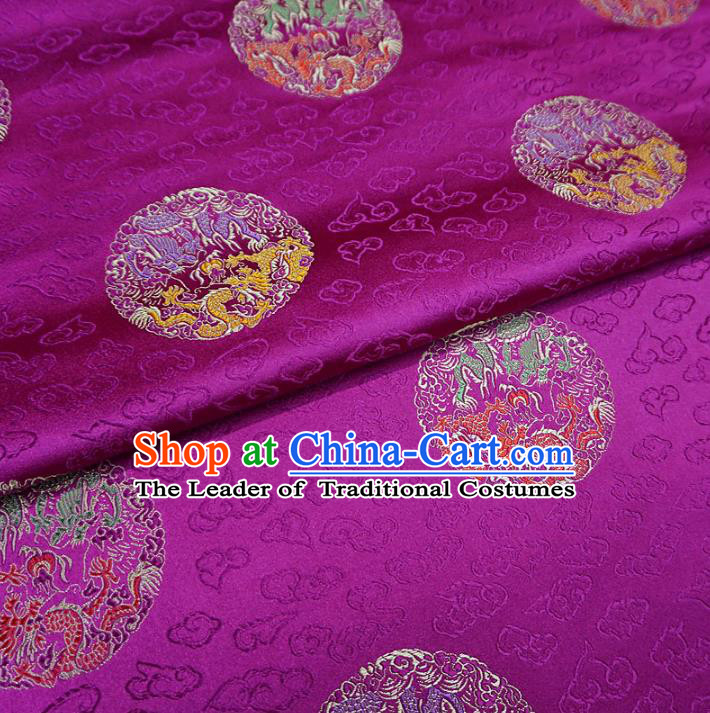 Chinese Traditional Palace Round Dragons Pattern Hanfu Rosy Brocade Fabric Ancient Costume Tang Suit Cheongsam Material