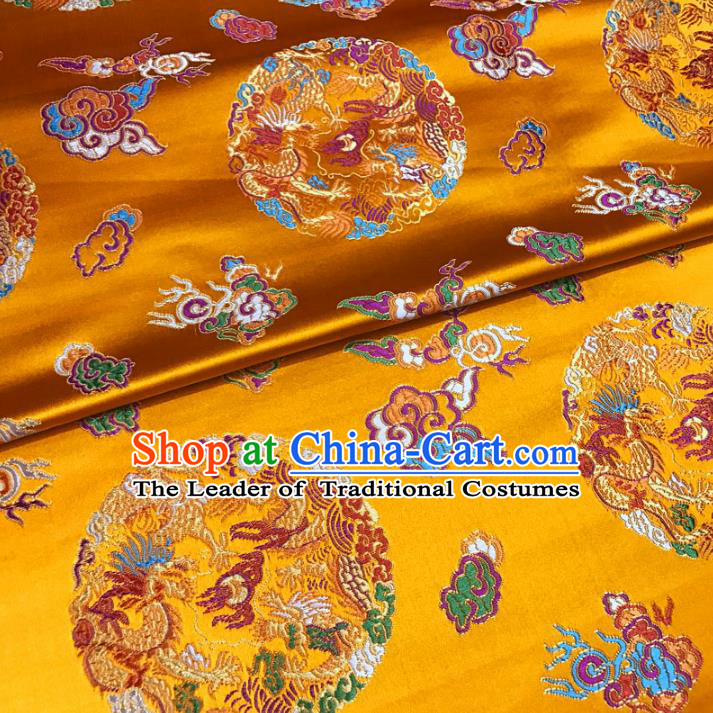 Chinese Traditional Palace Round Dragons Pattern Hanfu Yellow Brocade Fabric Ancient Costume Tang Suit Cheongsam Material