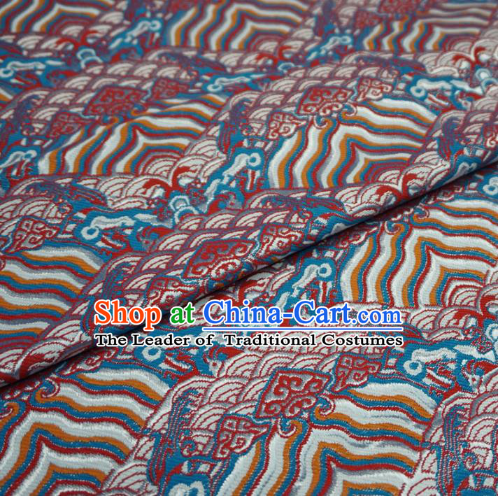 Chinese Traditional Palace Sea Cliff Pattern Hanfu Brocade Fabric Ancient Costume Tang Suit Cheongsam Material