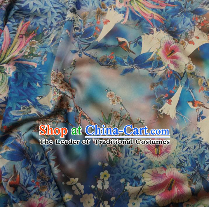 Chinese Traditional Palace Printing Hanfu Blue Brocade Qipao Fabric Ancient Costume Tang Suit Cheongsam Material