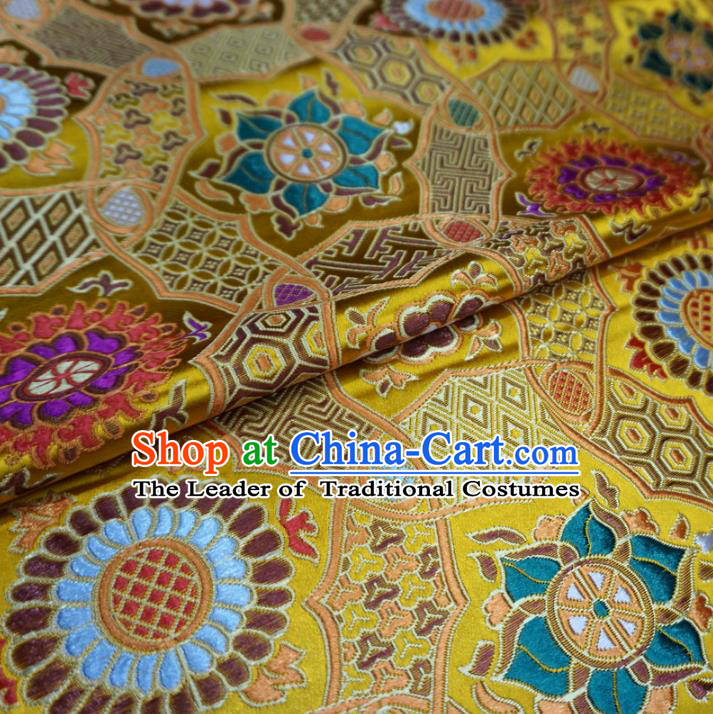 Chinese Traditional Palace Pattern Hanfu Yellow Brocade Qipao Fabric Ancient Costume Tang Suit Cheongsam Material