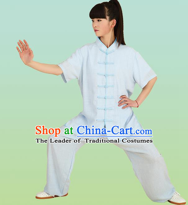 Chinese Linen Kung Fu Short Sleeve Blue Costume, China Traditional Martial Arts Kung Fu Tai Ji Plated Buttons Uniform for Women