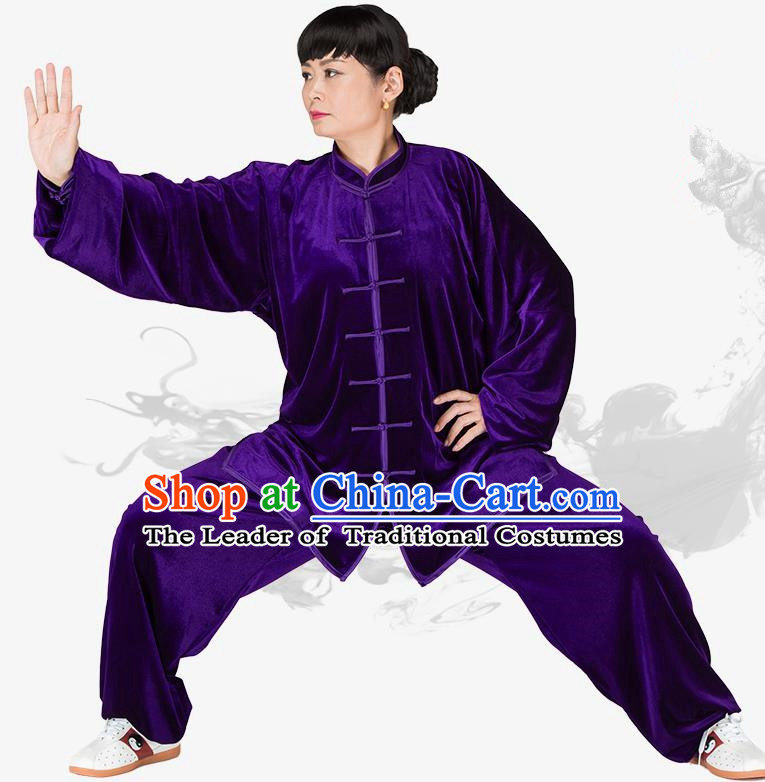 Chinese Kung Fu Black Purple Velvet Plated Buttons Costume Traditional Martial Arts Kung Fu Tai Ji Uniform for Women for Men