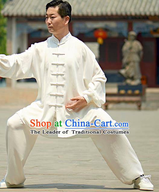 Chinese Kung Fu Plated Buttons Costume, Traditional Martial Arts Kung Fu Tai Ji White Uniform for Women for Men