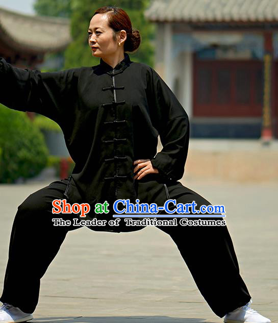 Chinese Kung Fu Plated Buttons Costume, Traditional Martial Arts Kung Fu Tai Ji Black Uniform for Women for Men