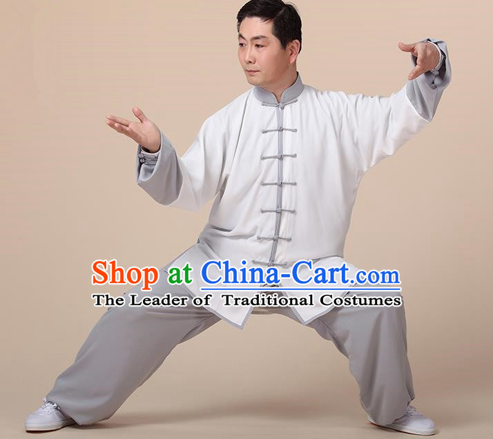 Chinese Kung Fu Grey Plated Buttons Costume, Traditional Martial Arts Kung Fu Tai Ji Uniform for Women for Men
