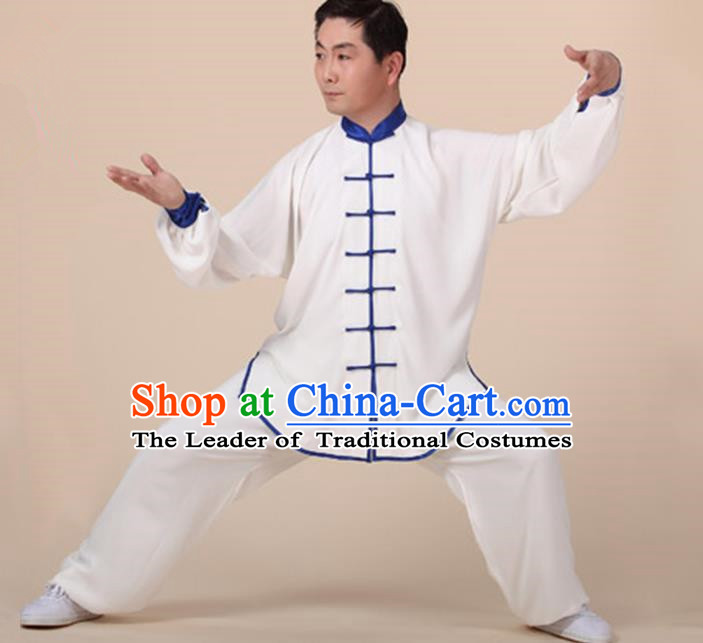 Chinese Kung Fu Blue Plated Buttons Costume, Traditional Martial Arts Kung Fu Tai Ji Uniform for Women for Men