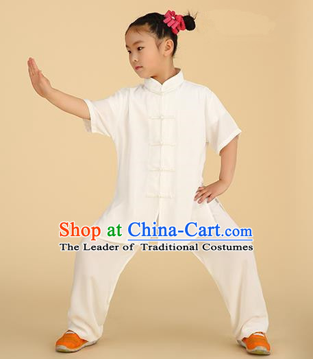 Chinese Kung Fu Linen Plated Buttons Costume, Traditional Martial Arts Tai Ji White Uniform for Kids