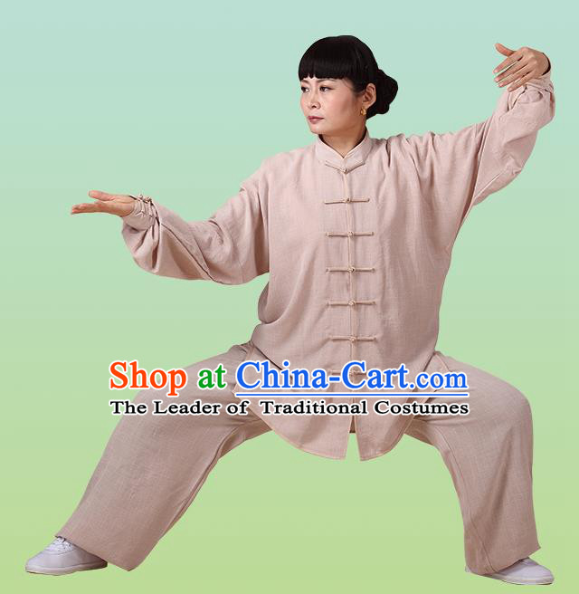 Top Grade Chinese Linen Kung Fu Costume, China Traditional Martial Arts Kung Fu Training Coffee Uniform Wushu Clothing for Adult