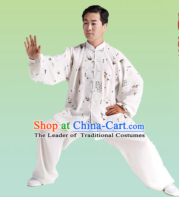 Top Grade Chinese Linen Kung Fu Costume, China Traditional Martial Arts Kung Fu Taiji Training Printing Uniform for Adult