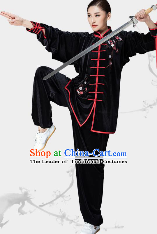 Traditional Chinese Kung Fu Black Velvet Embroidered Costume, China Martial Arts Tai Ji Uniform Clothing for Women