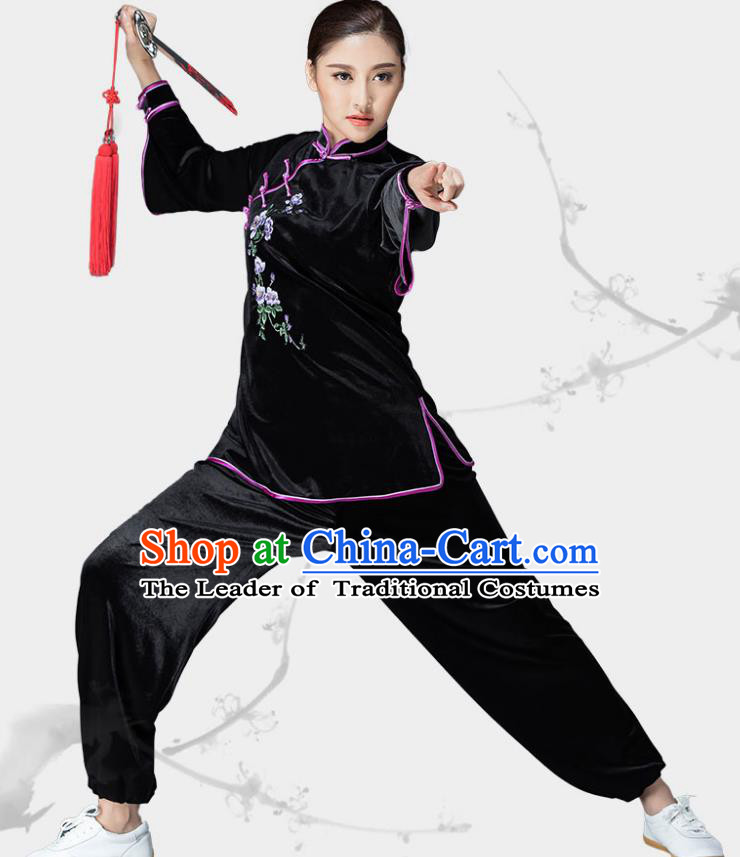 Traditional Chinese Kung Fu Black Velvet Embroidered Costume, China Martial Arts Tai Ji Slant Opening Clothing for Women