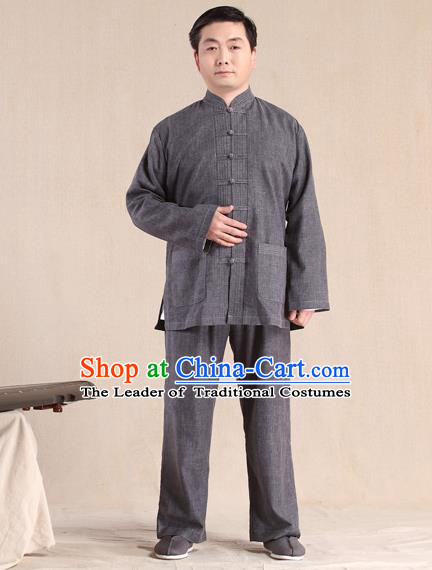 Traditional Chinese Kung Fu Grey Linen Costume, China Martial Arts Uniform Tai Ji Tang Suit Plated Buttons Clothing for Men