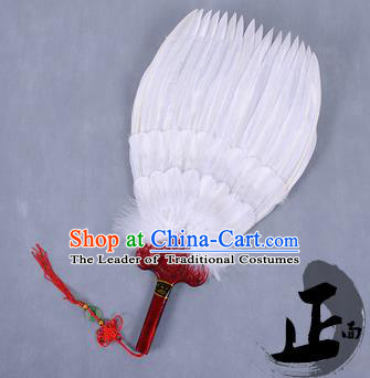 Traditional Chinese Crafts Folding Fan China White Feather Fan Oriental Fan Zhuge Liang Fans