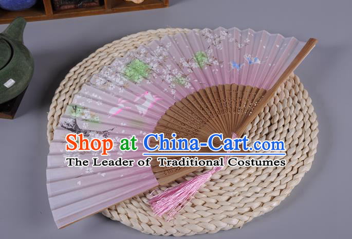 Traditional Chinese Crafts Pink Silk Folding Fan China Oriental Fans for Women