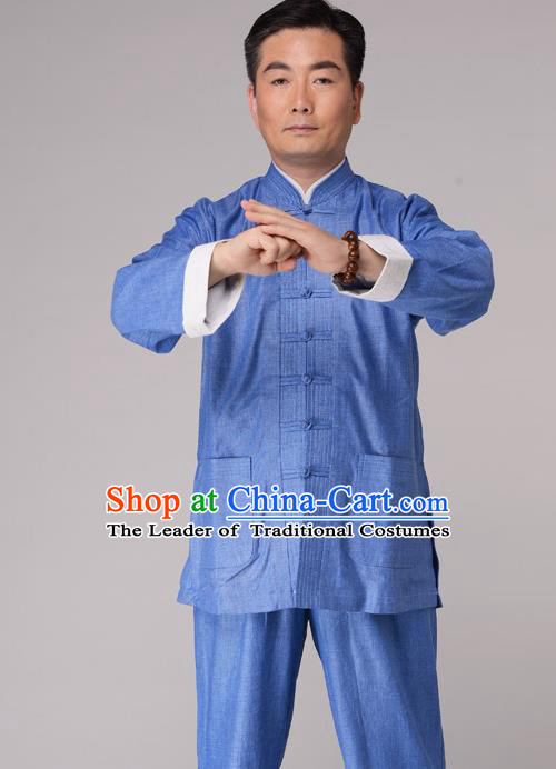Traditional Chinese Kung Fu Blue Linen Costume, China Martial Arts Uniform Tai Ji Tang Suit Plated Buttons Clothing for Men