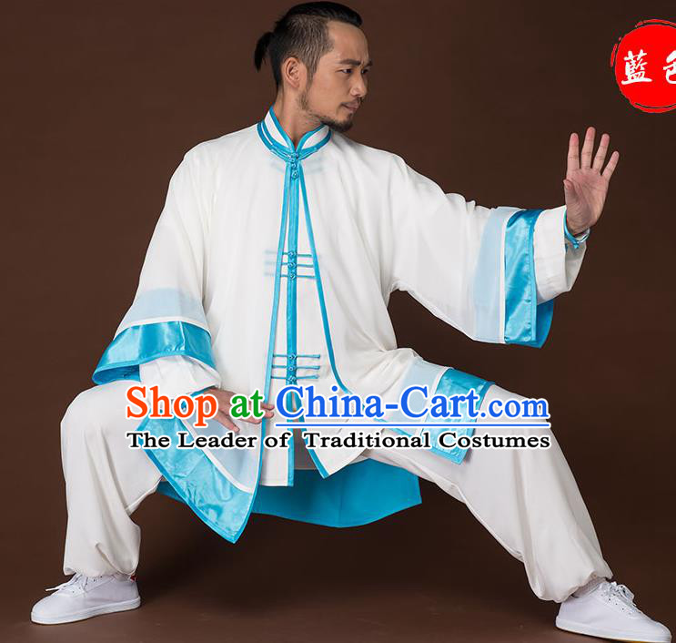 Traditional Chinese Kung Fu Costume Complete Set, China Martial Arts Blue Uniform Tai Ji Tang Suit Clothing for Men