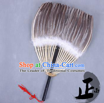 Traditional Chinese Crafts Folding Fan China Black Goose Feather Fan Oriental Fan Zhuge Liang Fans